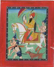 Miniature Portrait Of Guru Gobind Singh ji Holding a Falcon & Escorted Painting