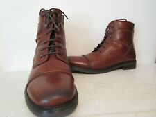 GBX Brando Mens Leather Casual Cap Toe Side Zip Ankle Boots Tan Size 11.5