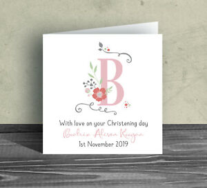 Christening Baptism Card pink girl daughter new born baby name date custom D9c