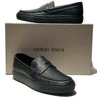 Armani Pebbled Blue Leather Penny Loafers Men's Dress Shoes 8.5 Moccasin Black
