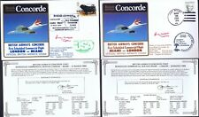 27.3.83 TWO BA CONCORDE FLT Capt B.WALPOLE SIGNED COVERS_LONDON -MIAMI- LONDON_R