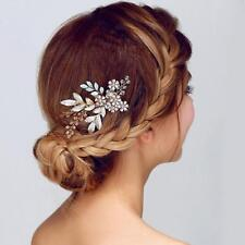 Bridal Wedding Hair Accessories Clip-in-Pin Comb Gold Hair jewellery Bridesmaid