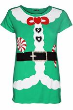 New Kids Girls Christmas Xmas Heart Ribbon Santa Suit Costume Stretch TShirt Top