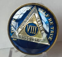 8 Year Midnight Blue AA Medallion Alcoholics Anonymous Chip Gold & Nickel Plate