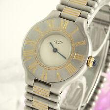 Cartier Must 21 Damenuhr Quarz Edelstahl und Gelbgold 28 mm Durchmesser