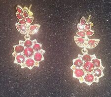Antique Victorian Garnet Ear Rings with 14K Clasps, Vintage