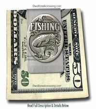FISHERMAN MONEY CLIP - FISHING ROD SPORTSMAN FLY FISH TROUT BASS - FREE SHIP *