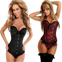 Sexy Satin Gothic Lace up Boned Overbust Corset Bustier Waist Trainer Plus Size