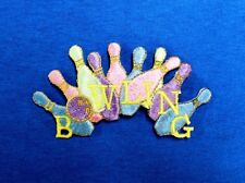 Colorful Bowling Pins in Pastel Colors w/Gold trim, Iron On Embroidered Applique