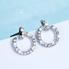 925 silver earrings simulated diamond round nail stud small 8mm