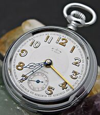 Vintage ETERNA Cal. 236 Hand Wind 24Hr Military Dial Alarm Pocket Watch L8
