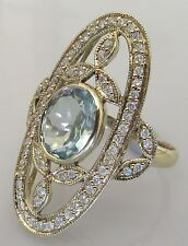 Secondhand 9ct Yellow Gold Aquamarine Multi Diamond Oval Cluster Ring Size N