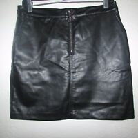 NWT Bebe Mini Skirt Women's SZ:10- Leather Zip Front Pencil- Lined