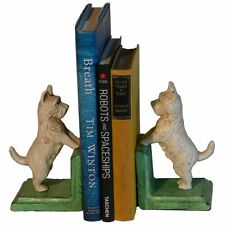 Hand Painted Cast Iron Westie West Highland White Terrier Bookends - Green Base