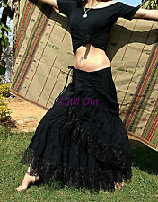 HIPPY BOHO GYPSY WRAP SKIRT, COTTON AND LACE, BLACK, SIZE 8 10 12 14