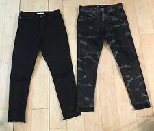 LOT of Women's ZARA & LEVI'S High Rise Skinny Jeans Black Distressed Size 6 27