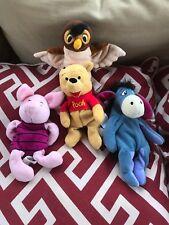 Disney Store Winnie the Pooh Plush Set of 4 with Piglet, Owl, Winnie, Eeyore
