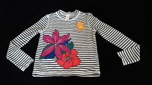 Girl's Gymboree Rash Guard, Striped White/Black, Size 10-12 NWT