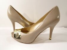 Marc Fisher Women's Birte Gold Buckle Hardware Peep Toe Pumps Sz 8 BEige