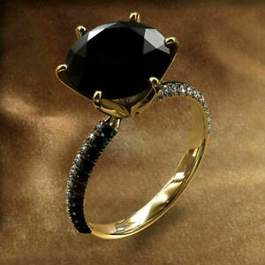 2Ct Round Cut Black Diamond Women's Elegant Engagement Ring 14K Yellow Gold Over