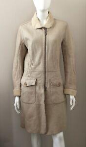 CALVIN KLEIN JEANS beige leather sheepskin coat jacket vintage Large