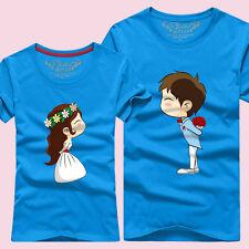 15-color Women men summer Lovers couple casual T-shirt Cute couple courtship S#