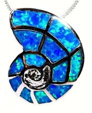 "Silver 925 SF Pendant Blue Lab Fire Opal  SHELL 7/8"" Long 3/4"" Wide"