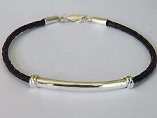 3 mm Black Bolo Braided Leather Cord Bracelet Sterling Silver .925 Tube