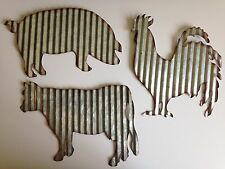 Barnyard Animals Rooster Cow Pig Galvanized Steel (Farm House Ranch Home Decor)