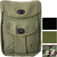 Canvas 2 Pocket Ammo Pouch Military Army Tactical Holder Belt Loop