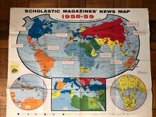 VINTAGE World Map Poster Decor Scholastic Wall Hanging 1950s VINTAGE POSTER