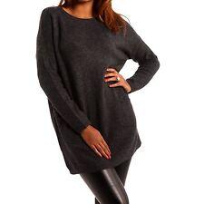 Feine hüftlange Damen-Pullover & -Strickware mit Rundhals-Ausschnitt