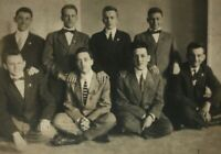 1912 Eight Sharp Dressed Men Real Photo Postcard RPPC Unposted