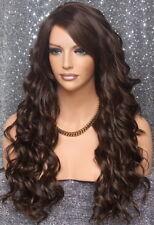 Full Heat OK Beach Wavy Long Wig Brown mix Layered Hair Piece 6-30 NWT WBKW