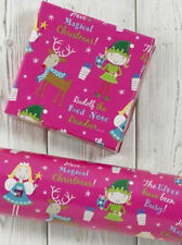 NEW~PINK FAIRY & ELF KID'S CHRISTMAS WRAP BUNDLE-10M FAIRY WRAP+10 MATCHING TAGS