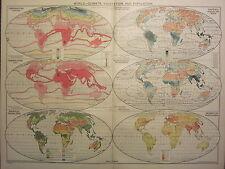 1939 MAP ~ WORLD CLIMATE VEGETATION & POPULATION ~ SEASONAL RAINFALL WINDS