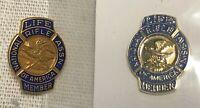 Pair Lapel Pin NRA Life Member Blue Gold National Rifle Association Pins Vintage