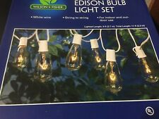 WILSON & FISHER EDISON BULB STRING LIGHT SET CLEAR WHITE WIRE IN/OUTDOOR USE NEW
