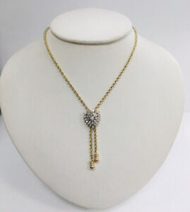 """Estate 14Kt Yellow Gold .70ct Natural Diamond Heart Bolo Lariat Necklace 16.75"""""""