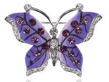 Rhinestone Butterfly Fashion Pin Brooch Fashion Burgundy Rose Amethyst Crystal