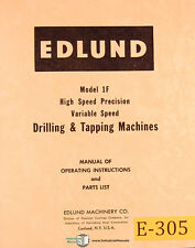 Edlund 1F and 2F, Drilling and Tapping Machine Operations and Parts Manual 1956
