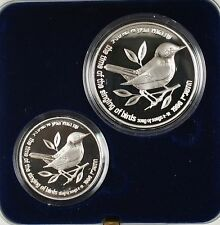 1996 Israel New Sheqalim Wildlife Bird 2 Coin Silver Proof & UNC Set w Box & COA