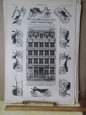 Vintage Print,WOOD BROTHERS CARRIAGE AD,Harpers Supplement,May 1873