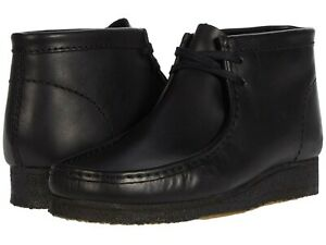 Men's Shoes Clarks Originals WALLABEE BOOTS Moccasin Lace Up 55512 BLACK LEATHER