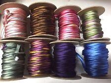 "Hand Dyed Silk Satin 1/4"" Cord  on the Bias Tubing 1yd Made in USA"