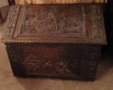 Antique Wooden Cooper Inlayed Coal Chest Box