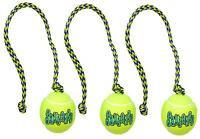 3 MEDIUM KONG AIR DOG SQUEAKER TENNIS BALLS W/ ROPE  Bulk Fetch Balls Dog Toys