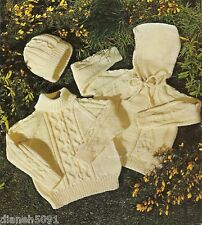Aran Hooded Sweater & Sweater Set Kids Knitting Pattern 4 Sizes