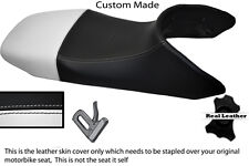 BLACK AND WHITE CUSTOM FITS HONDA TRANSALP XL 650 LEATHER SEAT COVER