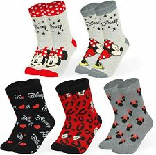 Disney Minnie Mouse And Mickey Mouse Socks Pack of 5 Size 4-7